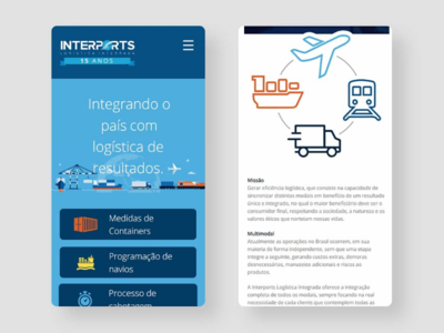 Interports Logística Mobile uxdesign userexperience landingpage webdesigner creative graphicdesign website webdesign web mockup wireframe interface ui ceciliomendes