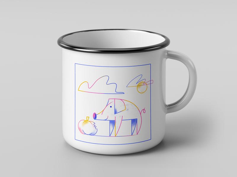 Pig Cup lineart animal illustration color photoshop cup design pig