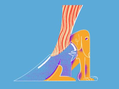 dog with high heel