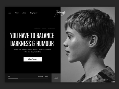 Sophia Lillis Official Website animated animation white black blackandwhite monochrome branding website web minimal design ux ui