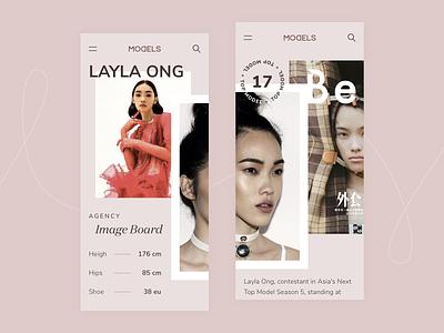 MODELS App fashion models model asian pink mobile ui mobile design mobile app app minimal design ux ui