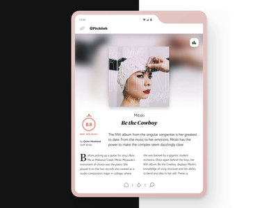 Pitchfork App for Samsung Galaxy Fold android app mobile design mobile app mobile ui video progressbar player sound music fold samsung galaxy interaction pink white minimal animation app design ux ui