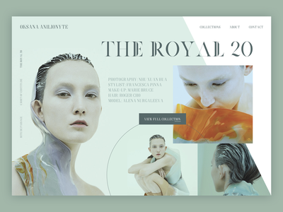 The Royal 20 Editorial - Collection Subpage sketch sketchapp mint green fashion webdesign web design web minimal design ux ui