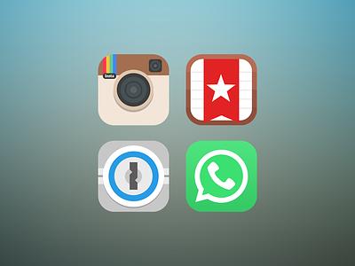 Flat icons instagram wunderlist 1password whatsapp ios7 app icon icon flat