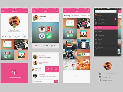 Freebie + Invitations + Dribbble app concept freebie app ui ui kit psd dribbble invitation profile comments list ios7