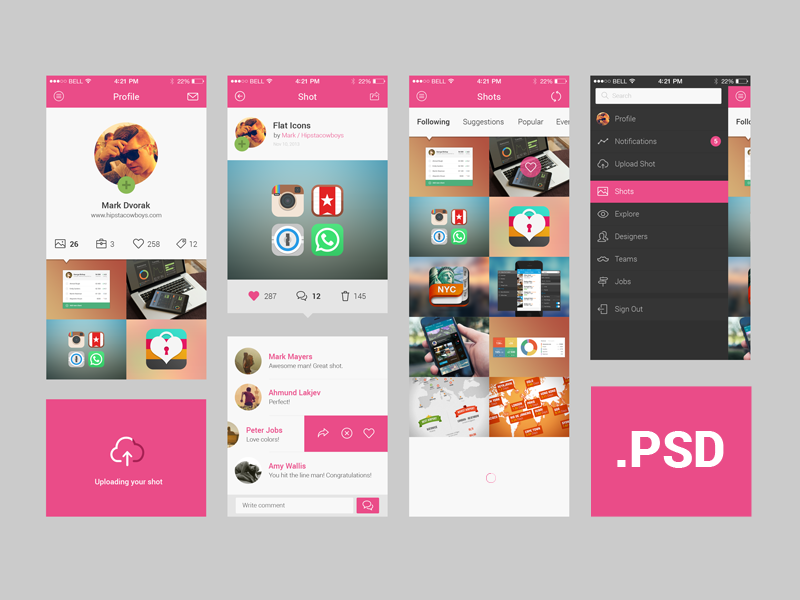Freebie + Invitations + Dribbble app concept freebie app ui ui kit psd dribbble invitation profile comments list ios7