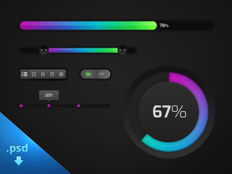 Clean UI Kit - Freebie progress buttons switch timeline dots circle progress progress bar freebie psd