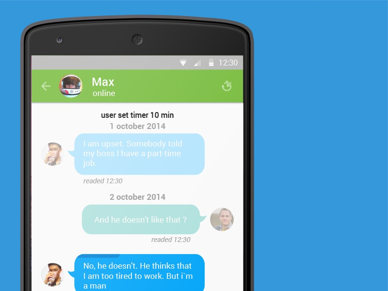 Nexus5 dialog message app android security