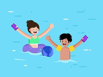 Water Park playing float children water graphic design illustration kids pool swimming