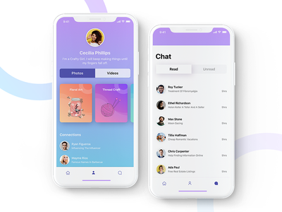 IOS App for Showcasing Talent! cards illustration profile search talent search gradient minimal iphonex android ios uiux