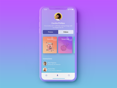 Mobile App for Showcasing Talent colorful product design social media showcase talent blue android ios mobile interaction ux ui