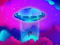 Alien Spacecraft Digital Illustration