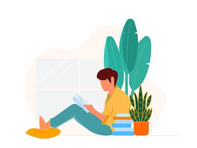 Reading Book app ui web ux branding illustration