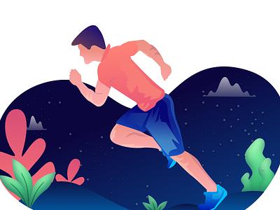 Fitness Run app web vector illustration fitness