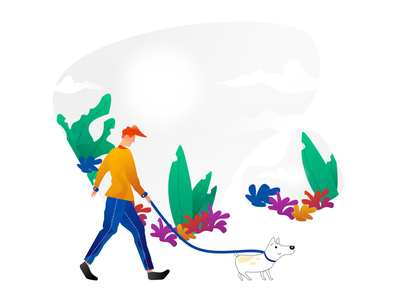 Dog Walker branding vector illustration