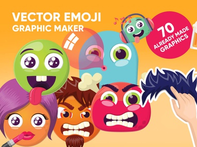 Vector Emoji Graphic Maker cool funny fun happy angry flat colorful vector illustration character emoticons design graphic set icon cartoon emoji set emojis emotion emoji