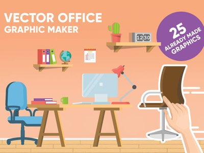 Office vector graphic maker graphic maker maker vector home office computer work working business room clean simple modern style minimalist flat cartoon background interior office