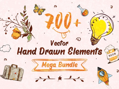 700+ Hand-Drawn Elements Mega Bundle handlettering illustration art flat colorful graphic handmade vector collection set bundle graphics design icons elements hand-drawn