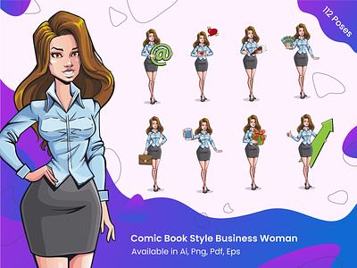 112 Poses Comic Book Style Woman Set retro design corporate comic books comic art elegant shirt business vector colorful illustration set character woman female comics cartoon pop art popart art comic book