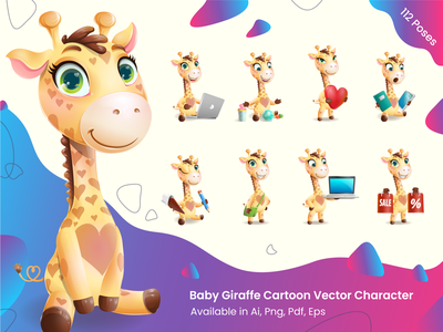 Baby Giraffe Cartoon Illustrations graphic character design cartoon illustration baby clothes baby shower kid child adorable animal cute giraffe baby