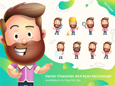 Vector 3D Cartoon Character Ryan McConcept man boy concept art modern collection bundle set design graphic illustration character 3d cartoon vector