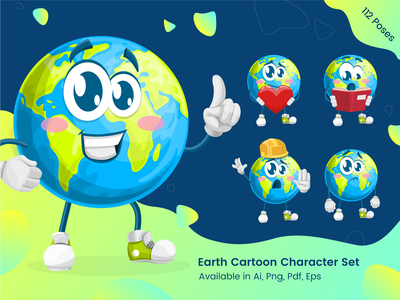Earth Cartoon Character Set - Earth Day Illustrations climate change mascot blue ecological cute illustration illustration design cartoon illustration cartoon graphic illustration character set planet earth earth day earthday planet green ecology eco earth