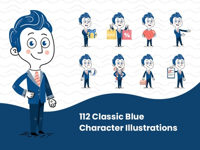 112 Classic Blue Character Illustrations