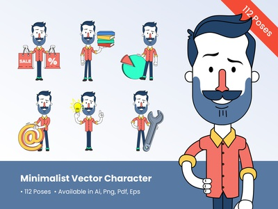 Minimalist Man Vector Character Design in 112 Poses