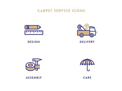Service icons for carpet manufacturer floor covering carpet design care assembly delivery service