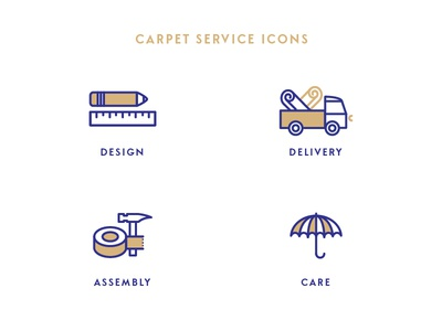 Service icons for carpet manufacturer floor covering carpet design care assembly delivery service