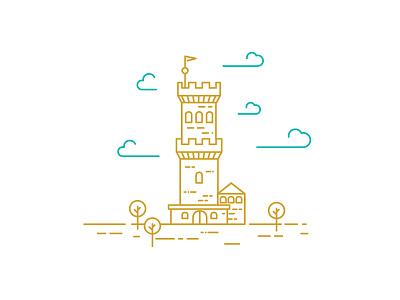 Tower illustration kingdom golden gold building king tower