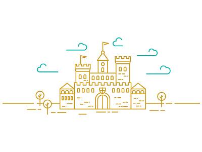 Castle illustration stronghold high kingdom king golden gold building castle