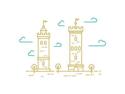 Two towers illustration king kingdom golden gold double towers building