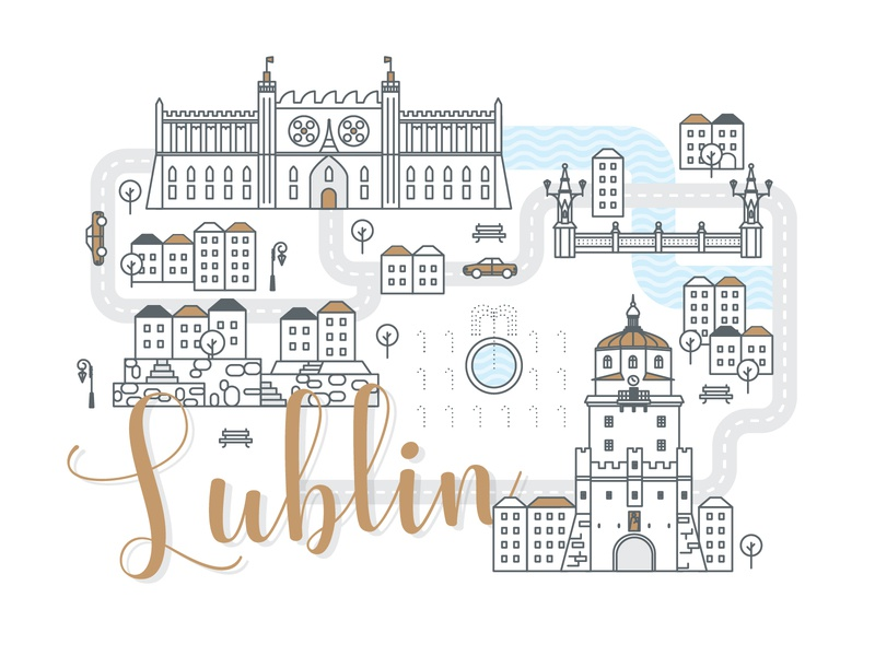 Polish Cities Serie / Lublin building panorama polska miasto lublin icons infographic city cityscape