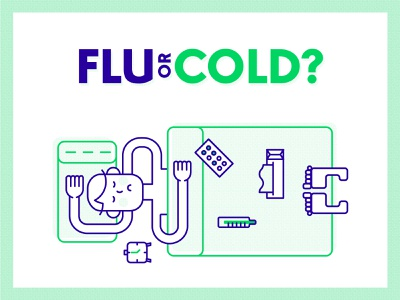 Flu or cold? napkin temperature sick ill infographic cold flu