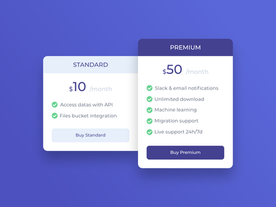 Pricing Plan - Exploration UI
