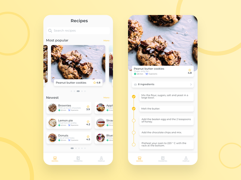Recipes cook App checkbox ui clean design cook book cakes cake brownie feed food list yellow application app recipe app recipe cookie cookies cooking cook