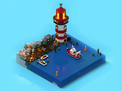 Lighthouse and trawler port trawler lighthouse sea