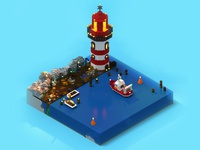 Lighthouse and trawler