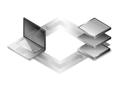 Macbook metalic shadows design graphic isometric illustration white black gradient macbook