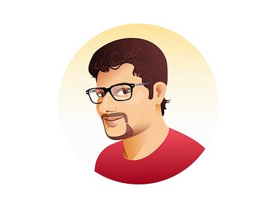 Johny person gradient face vector portrait illustration