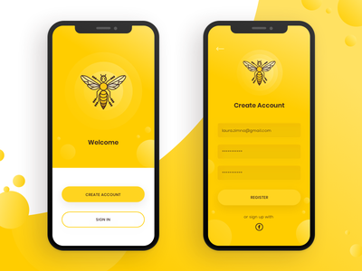 Sign up registration sign up yelow bee design iphone gradient mobile app