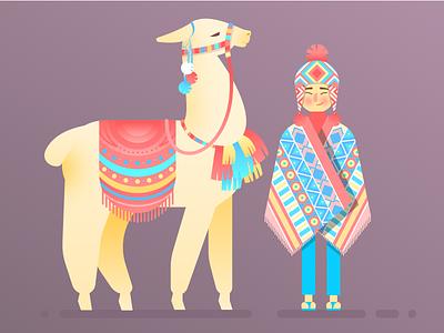 Boy And Alpaca character patterns peru alpaca boy design illustration