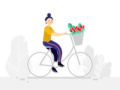 Girl on the bike flowers nature plants illustration character design bike girl