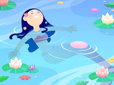 Siren flowers mermaid water nature gradients charcater design illustration siren