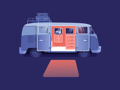 Volkswagen light camper volkswagen car design illustration