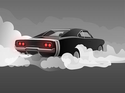 Dodge Charger 1969 classic car light gradient smoke dodge car design illustration
