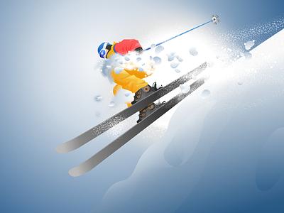 Skier mountain grain blue gradient light skier ski character design illustration