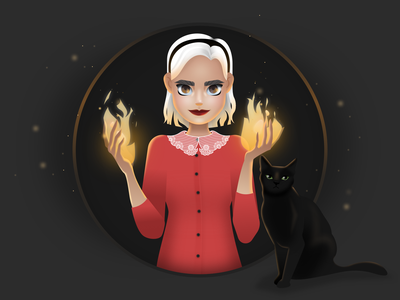 Sabrina vector fire gradient witch cat character design illustration
