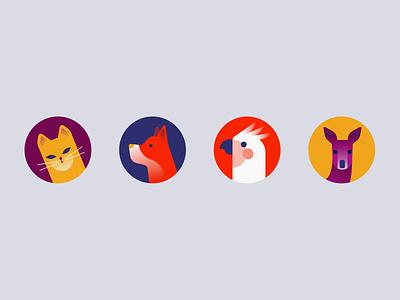 Avatars dog kangaroo deer parrot cat animals character profile pic user avatars illustration